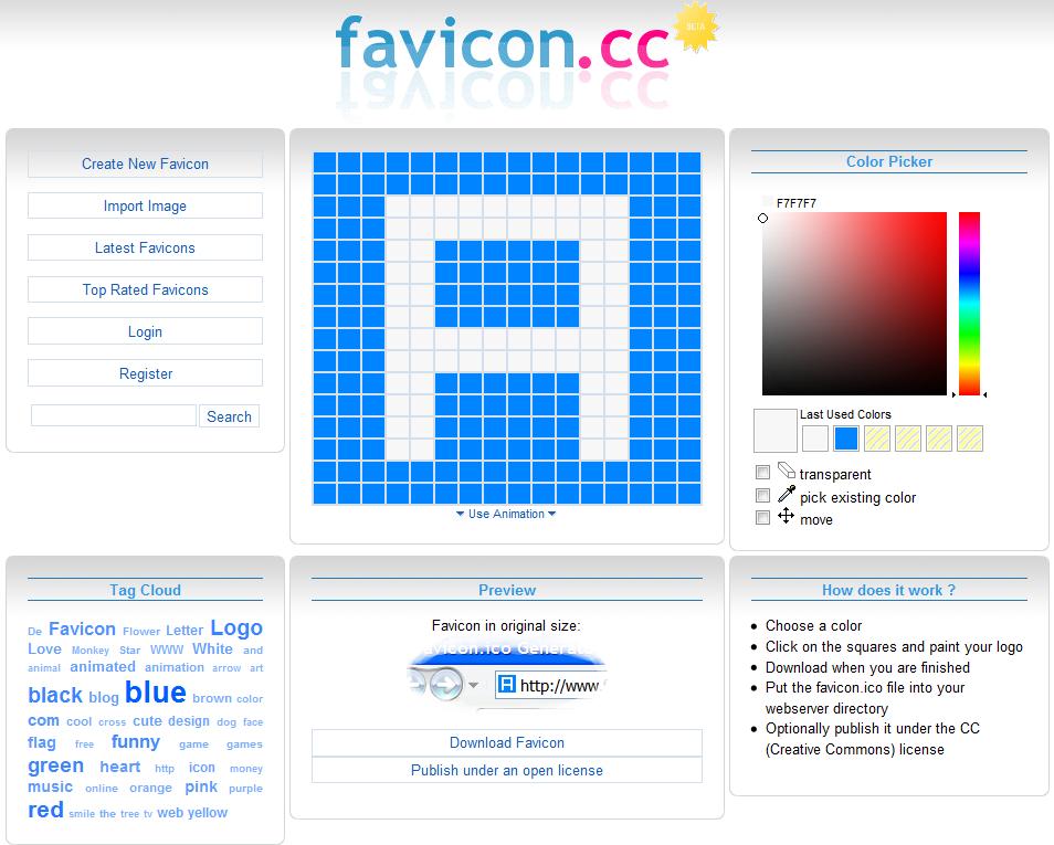 Criando ícones rapidamente com Favicon.cc