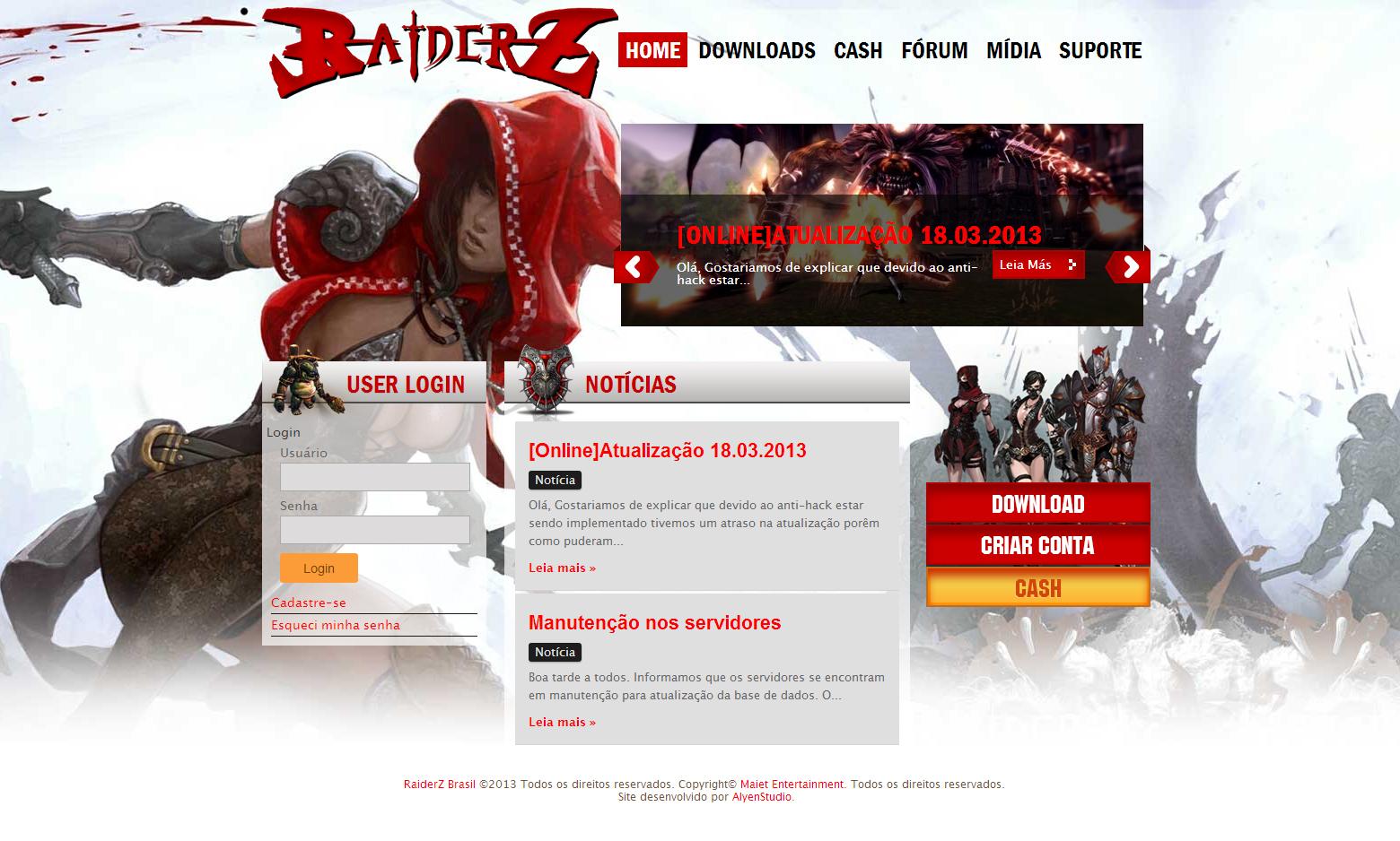 Criação do Site Raiderz Brasil