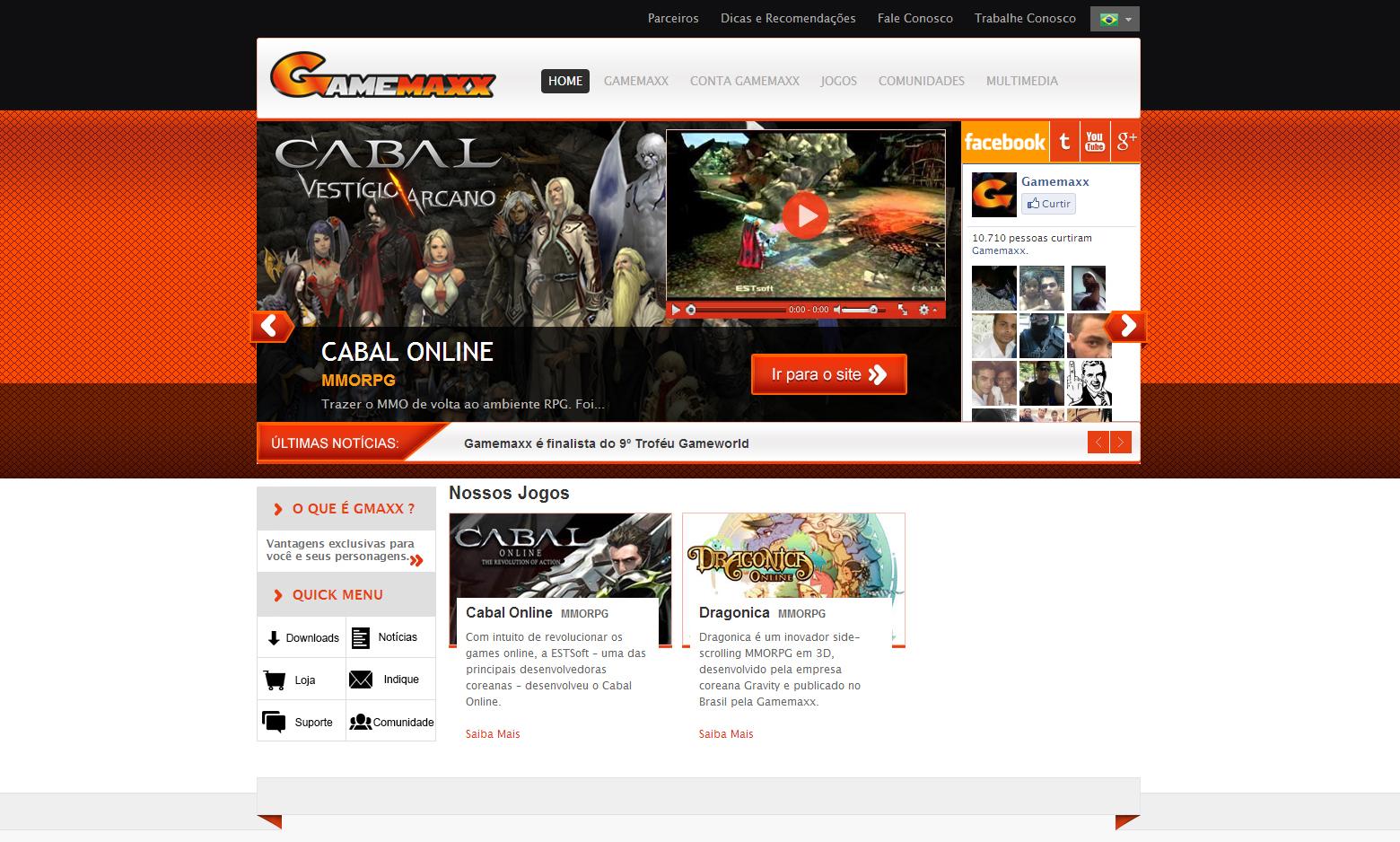 Criação do Site Gamemaxx