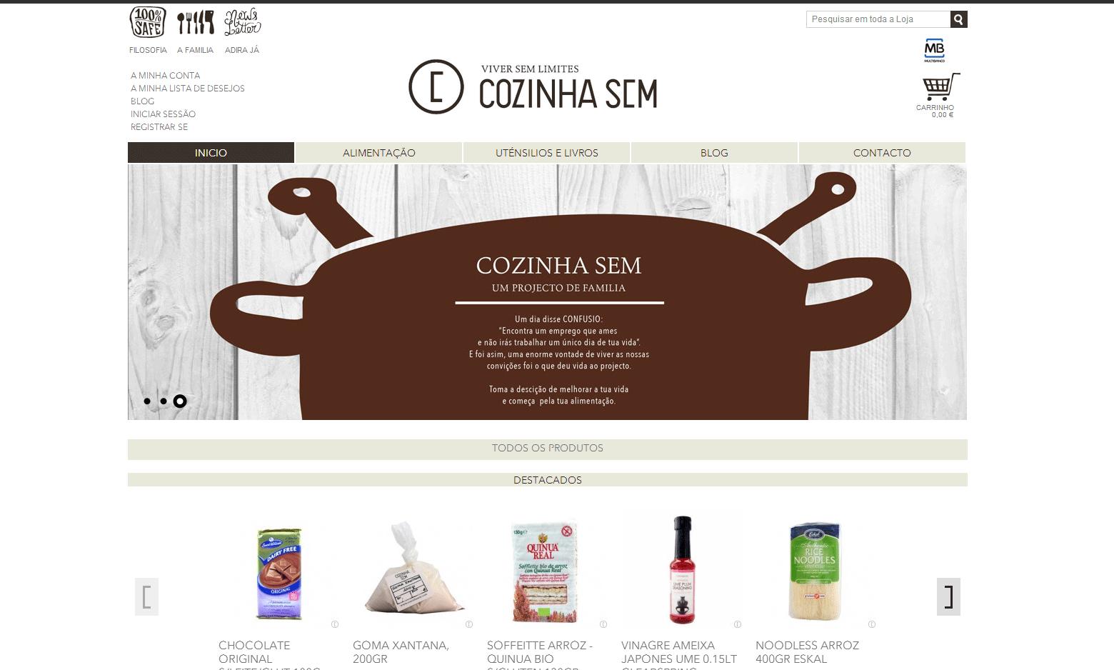 Criação da loja virtual Cozinha Sem
